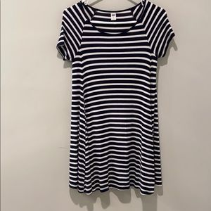 A navy and white tshirt striped dress